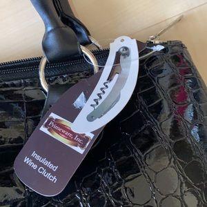 NWT wine clutch-versatile black embossed croc bag